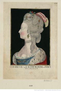Marie-Antoinette, en buste, de profil à gauche, dans un encadrement rectangulaire : [estampe]