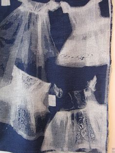 "'X Ray Dress 1' (2004) by textile artist Kathy Schicker. ""A photographic Jaquard woven panel exploring the concepts of home, family and memory. I am really keen on drawing and am pleased that the Jaquard allows for this to be translated into weave. This extends the possibilities presented by this craft."" via Ffion Griffith Blog"
