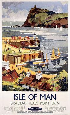 1950/'s Isle of Man Douglas  A3 Railway Poster Reprint