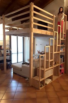 Enough with metal and glass! The wooden mezzanine is natural, solid and reliable: like our Yen . Mezzanine Bedroom, Loft Room, Bedroom Loft, Home Room Design, House Design, Queen Loft Beds, Adult Loft Bed, Loft Bed Plans, Pastel Home Decor