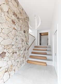 Very cute stairwell. Ending week 1 of room reveals with a bang Next up we'll be revealing what's on House Stairs, Facade House, House 2, Tulum, Stone Cladding, Stone Facade, Wall Cladding, Concrete Stairs, Stone Stairs