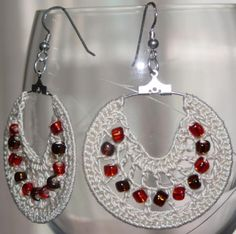 Crochet Earrings - I bought some rings like this recently so now I just have to get crocheting.