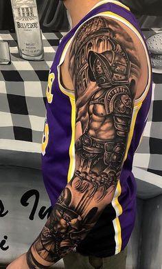 Warrior Tattoo Sleeve, Lion Tattoo Sleeves, Warrior Tattoos, Full Sleeve Tattoos, Tattoo Sleeve Designs, Arm Tattoos For Guys, Forearm Tattoo Men, Tattoo Designs Men, Cover Up Tattoos For Men