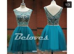 Teal Tulle Boat Neckline Cocktail Dress With Beaded Bodice
