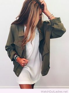 Army green jacket and white dress