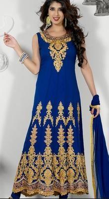 Fancy Royal Blue Churidar Kameez