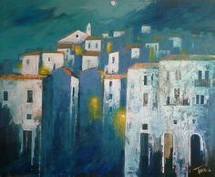 Pesaggio sotto la luna mixed media on canvas 110x90 cm Luigi Torre painter
