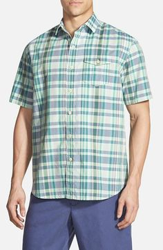 Men's Tommy Bahama 'Plaid Zone' Island Modern Fit Cotton & Linen Campshirt