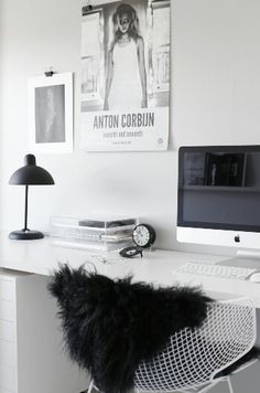 office black. Home Office Black And White Workspace