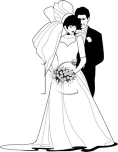 iCLIPART - Black and white illustration of a bride and groom.