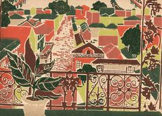 1940 scenic wallpaper. View of Spanish landscape. Wrought iron, rich colors. A very unusual vintage wallpaper from the 1940's.