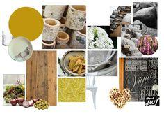 Sfeercollage, moodboard restaurant Drenthe door Binnenkijken Interieuradvies geel, yellow, wood www.binnen-kijken.com