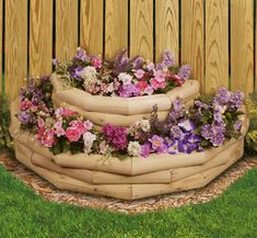 cute stacked planter idea from landscape timbers