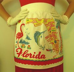 vintage Florida souvenir apron with hibiscus, flamingo, palm tree - 1950s mid century