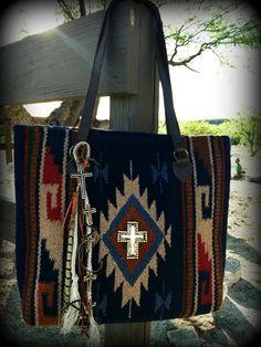 Navajo Tote Bag, Handmade, Recycled Charms, Copper, Cross, Handbag, Saddle Blanket Bag, Southwest Handbag, Rustic, BOHO, Jewelry, Rug