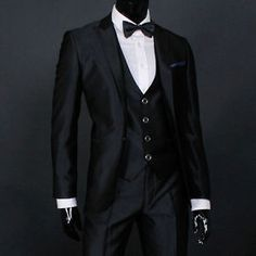 JEJE Slim Fit Shiny Black Mens Suit Tuxedo US 37R | eBay