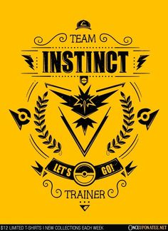 Team Instinct (Black) is available on t-shirts, hoodies, tank tops, and more until 7/18 at OnceUponaTee.net starting at $12! #Fashion #Apparel #Pokemon #PokemonGo