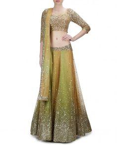 Orange Green Lengha with Sequins Work - Malini Ramani - Designers