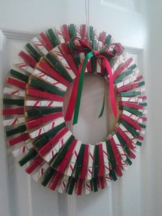 Christmas Clothespin Wreath Red/Green/White by lanamariedesigns