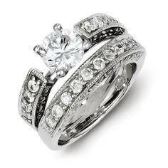 Sterling Silver 2-Piece CZ Wedding Set Ring