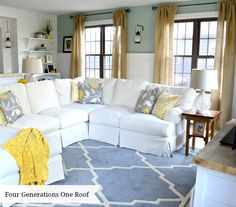 Living Photos Yellow Living Room Design, Pictures, Remodel, Decor and Ideas - page 3 My Living Room, Home And Living, Living Spaces, Burlap Curtains, High Curtains, Ruffle Curtains, How To Make Curtains, Do It Yourself Home, Living Room Inspiration