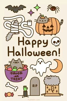 Pusheen KAWAII HALLOWEEN from Blippo Japan & Kawaii Shop! In my country is not celebrated Halloween. Kawaii Halloween, Happy Halloween Gif, Halloween 2014, Halloween Sayings, Spirit Halloween, Halloween Tumblr, Halloween Cat, Halloween Stuff, Chat Pusheen