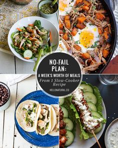 No-Fail Plan: A Week of Meals from 1 Slow-Cooker Recipe | http://hellonatural.co/slow-cooker-meal-plan/