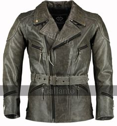d0c6a5aa8ca Mens 3 4 Vintage Distressed Eddie Motorcycle Long Leather Jacket