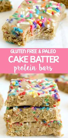 Healthy Cake Batter Protein Bars - they're made with cashew butter, protein and oat flower and taste just like cake batter. Perfect recipe for breakfast or a snack!