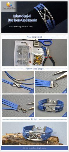 Pandahall Elite infinite symbol blue suede cord bracelet DIY