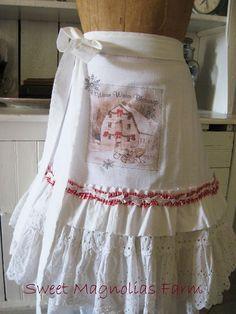 Christmas Flour Sack Kitchen Towel Apron by SweetMagnoliasFarm