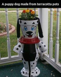 Puppy Dog Made From Terra Cotta Pots cute home garden puppy diy craft gardening project flowerpot garden pots