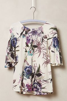 Floral Flutter Silk Blouse - anthropologie.com