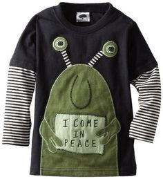 Mulberribush Boys 2-7 I Come In Peace Applique-2 Tone Stripe sleeve Tee: Amazon.com: Clothing