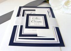 Navy Blue Wedding Invitation, Blue Wedding Invitations, Belly Band, Elegant, Navy Blue Wedding Invitations, Wedding Invites - SAMPLE SET