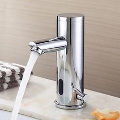 robinet lavabo design contemporain finition laiton chromé avec robinet automatique du capteur (chaud et froid)