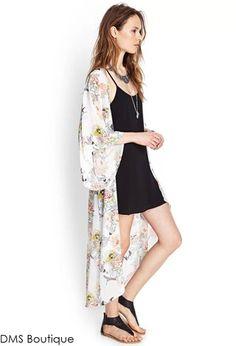 maxi kimono pássaros