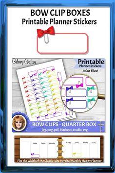 Bow Clip Boxes Printable Planner Stickers #printableplannerstickers #plannerstickers #printablestickers #planner #planning #plannercommunity #planneraddicts #happyplanner #mambi #erincondren