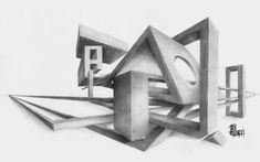 My final project for my basic drawing class. We had to create geometric shapes using two-point perspective. HB, woodless graphite Blenders John Vichlenski (c) 2008 EDIT: Uploaded a better scan o. Perspective Drawing Lessons, One Point Perspective, Perspective Art, 3d Art Drawing, Abstract Drawings, Art Drawings, Basic Drawing, Principles Of Design, Elements Of Art