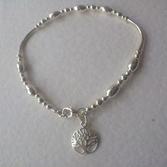 Tree of Life Charm Silver Noodle Bracelet, Sterling Silver Bead Bracelet, Silver…