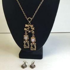 Pentti Sarpaneva Finland Vintage Pendant Earrings Signed Bronze Amethyst