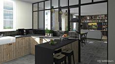 Cuisine rustique et industrielle avec sa verrière atelier, ses façades en bois brut... crédence en zellige noir