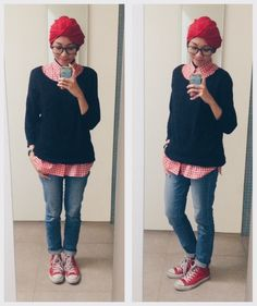 ootd casual hijab outfit plaid shirt, jenas, sweater, turban, converse sneakers  Syaifiena W lookbook.nu/syaifiena