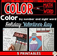 This Valentine's Day resource will allow students to work on important skills such as word recognition, addition and subtraction. The color by number and word printables will also help students with their fine motor skills.