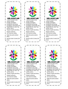 Free Girl Scouts' Kaper Chart and Bookmark