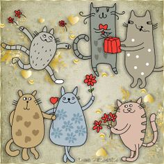 """Free scrapbook """"Cats in Love"""" from Scrap Elements by Lena"""