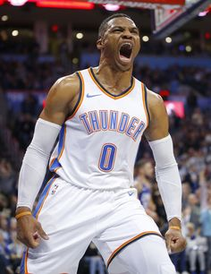 fa6250e69a Oklahoma City  s Russell Westbrook celebrates after a basket during an NBA  basketball game between the Oklahoma City Thunder and the Los Angeles  Clippers at ...