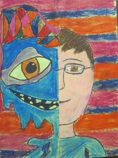 Picasso - After folding the paper in half, students will draw half of a realistic face on one side and half of an abstract face on the other. Outline with black marker and fill in with oil pastels!