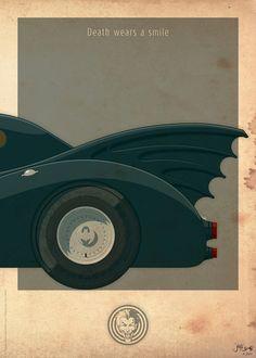 Ilustraciones de Jakob Staermose del batmóvil de 1989 y 1966
