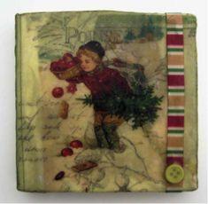 Christmas ephemera beeswax collage